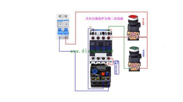 69 自锁电路实物接线图    这个是简易的自锁电路,省掉了一个热过载