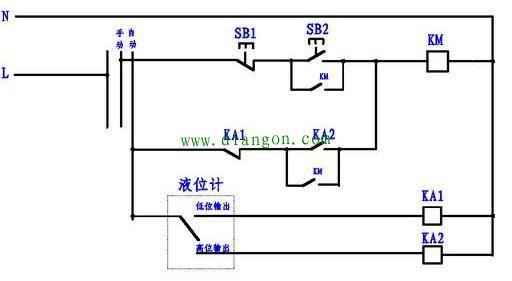 手动,自动控制排污泵电路图原理图解