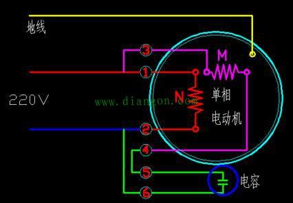 单相电机六根接线图解