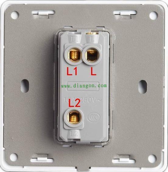 图2   如图2,要用到这种墙壁开关,开关拨上去,l接线柱和l1接通