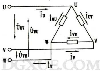 三相电路负载的三角形连接及相/线电压电流关系