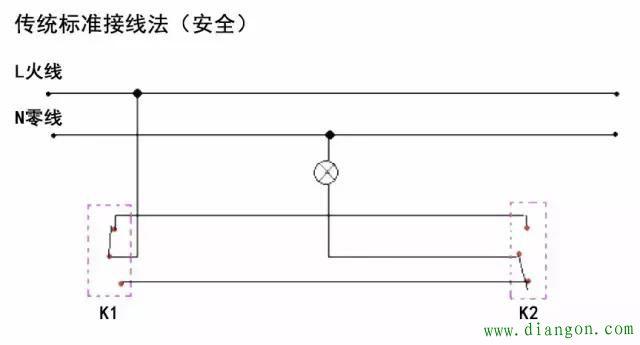 图_一灯双控开关接线图_单联双控开关接线图_双控开关接线图实物图