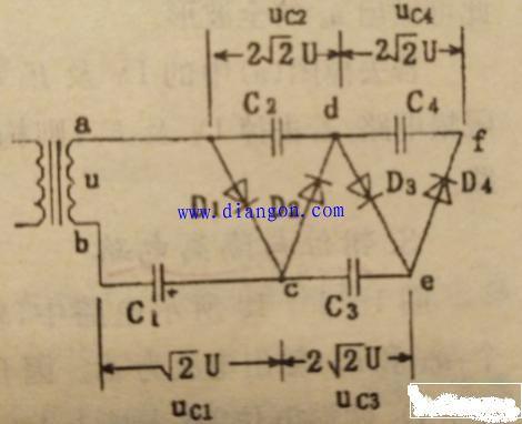 采用的倍压整流电路一般用能够承受较高反向电压的二极管,比如in4007