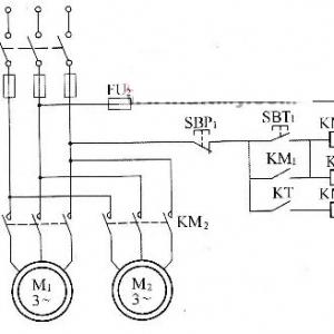 69 电工技术 69 电动机  一台电动机先启动,另一台电动机延时一段