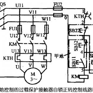 三相异步电动机多地控制的控制电路图