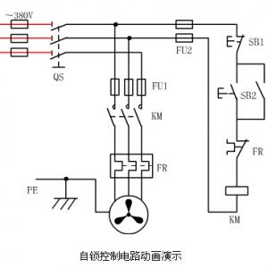 69 技术文库  接触器自锁控制电路的动画演示 如下图所示,在点动