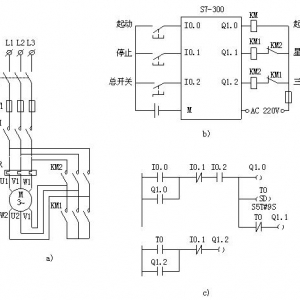 机星-三角减压起动控制a)控制主电路b)plc外部接线图c)plc控制梯形图