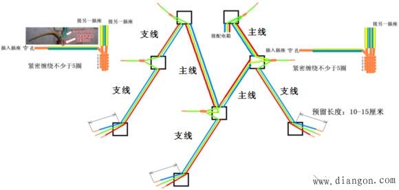 第三张图这是插座的并联接线示意图,厨房比较常见