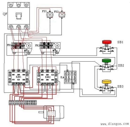 六,控制电路分析(双速电机接线图如下图) 1,合上空气开关qf引