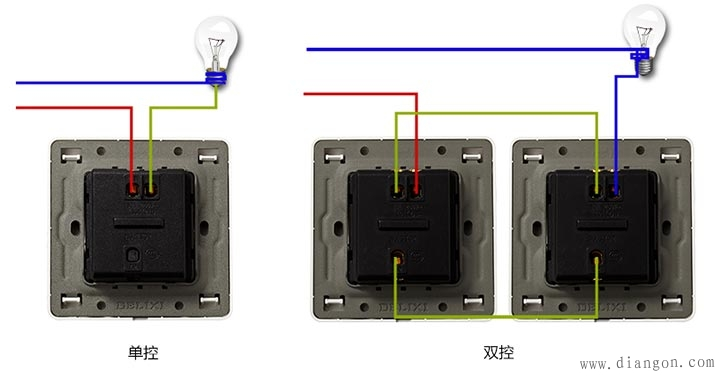 一开双控开关接线图_单控开关实物图_单控双开开关接线图