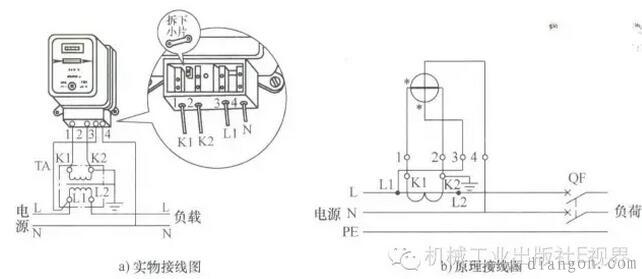 通过电流互感器与电源连接的单相低压电能表接线方法