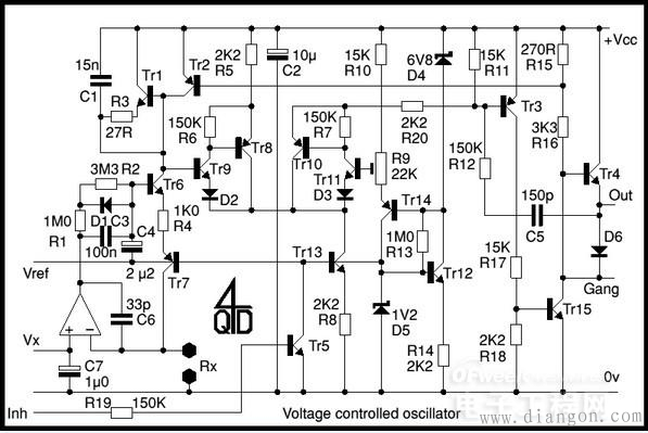 振荡频率的稳定度极高.该电路右获得100khz的矩形波输出.