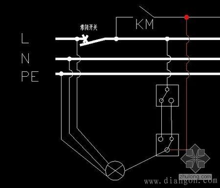 一灯单联双控开关接线图