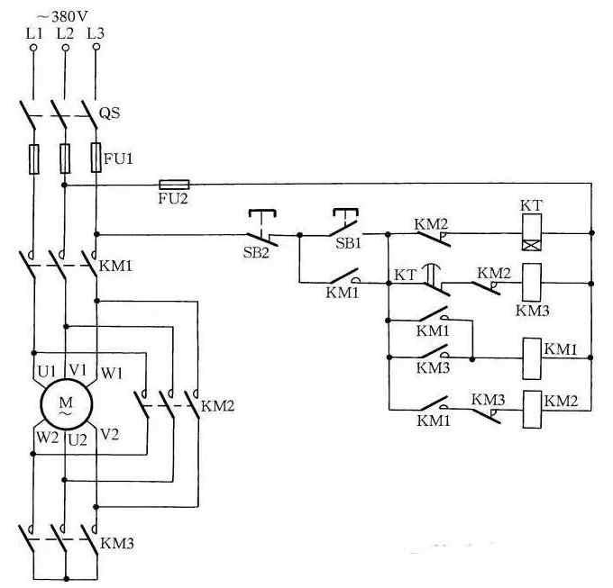 电动机启动完毕后(时间继电器一般控制在30s),时间继电器kt常闭触点