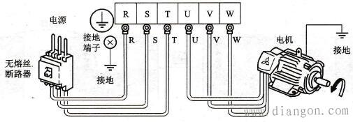变频器与电源和电动机的接线