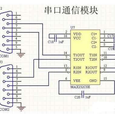RS-232串行通信电路图