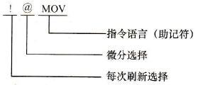 指令的动作选项的格式