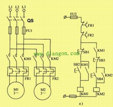 图2 时间继电器控制的顺序起动电路  控制线路工作过程:设电路要求