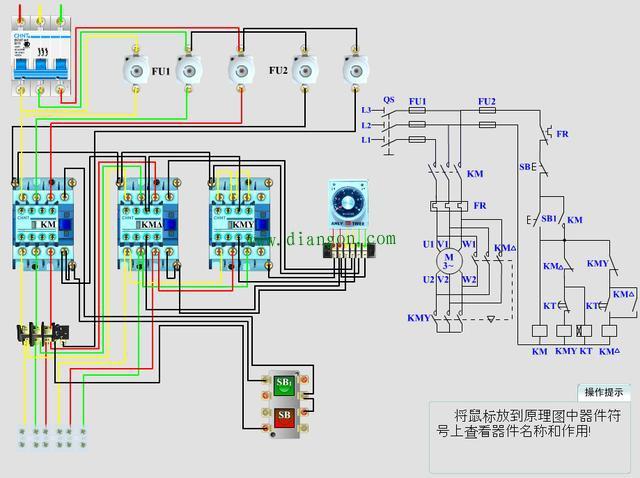今天我们继续讲解一个比较重要的控制电路,星三角降压启动,什么是星三角降压启动呢?为什么要用星三角降压启动呢? 为什么要选用降压启动,是因为一些功率比较大(一般单台7.5KW以上)电动机,由于启动的时候启动电流比较大,对电网冲击大,所以为降低启动电流和减少对电网的冲击,一般都会选用降压启动。星三角降压启动就是其中的一种,并且最常见的一种。 星形三角形降压启动是指启动时,把定子绕组接成星形(Y),以降低启动电压,限制启动电流;待电动机启动后,再把定子绕组改接成三角形(),使电动机全压运行。 电动机启动时,接成