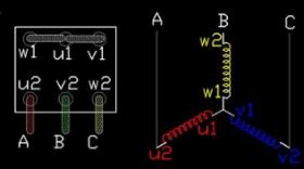 星三角启动电机接线柱接法