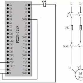定时器与计数器组合延长定时控制的PLC线路与梯形图