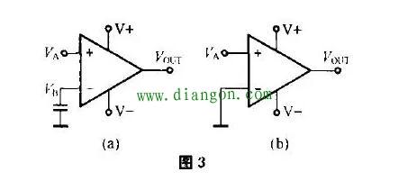 图4(a)由运算放大器组成的差分放大器电路,输入电压va经分压器r2