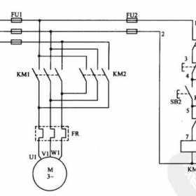 接触器互锁的三相异步电动机正反转控制线路原理图解