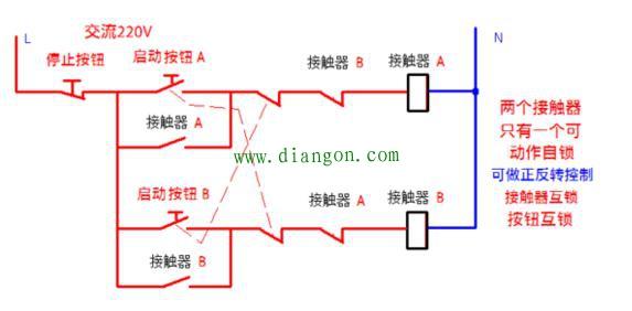 两个接触器互锁,每个接触器可以自锁