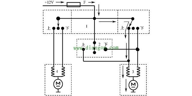 汽车电动车窗的组成和电路图工作原理图解