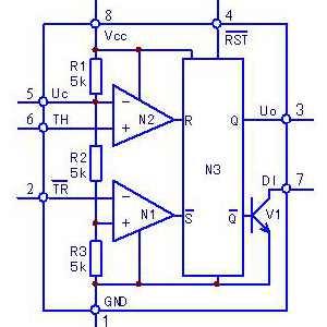 NE555时基电路原理框图及引脚功能