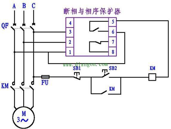 1,2,3接线柱分别接三相电源,5,6接线柱为常开,7,8为常闭.