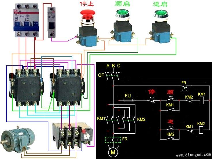 手电钻调速电路图_按钮互锁接线图 - 电路图分享_电工学习网