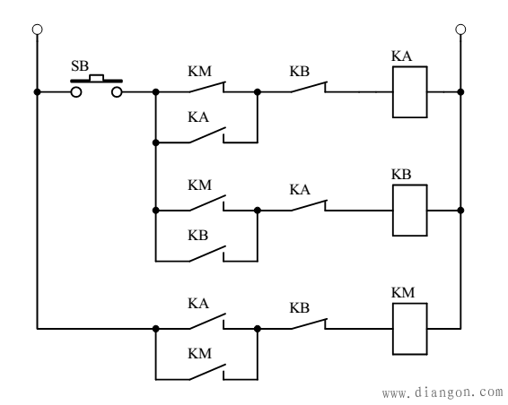 单按钮控制电机启停电路图