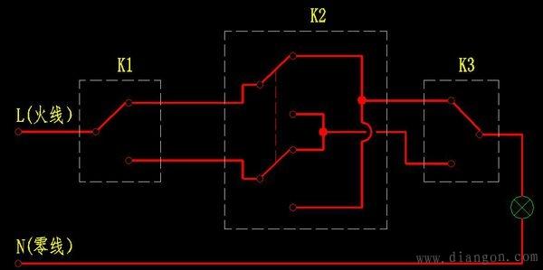 照明灯三控接线图