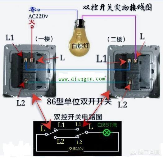 电灯开关上有L、L1和L2怎么接线?