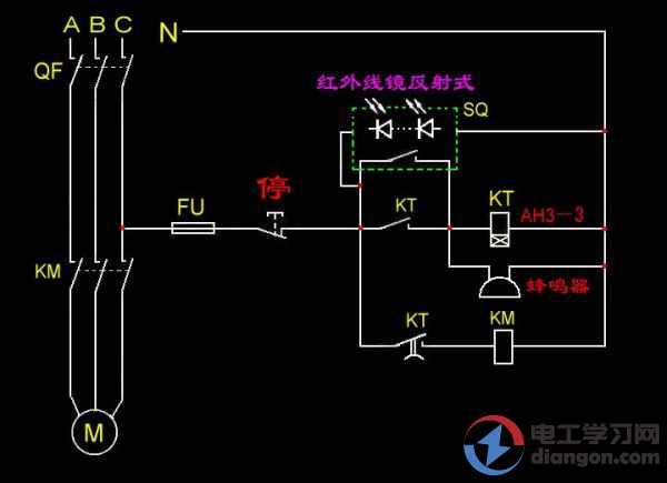 时间继电器与电动机串联后在和蜂鸣器并联