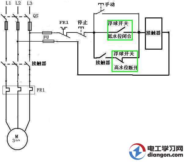 简单自动抽水系统电路图