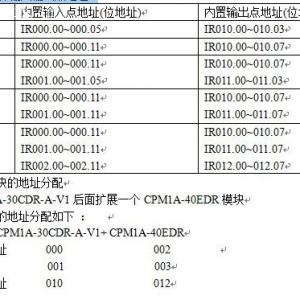 欧姆龙CPM系列PLC输入输出继电器的地址分配?