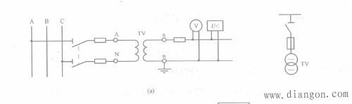 单相电压互感器的接线图