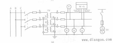 电压互感器Y。/Y。形接线
