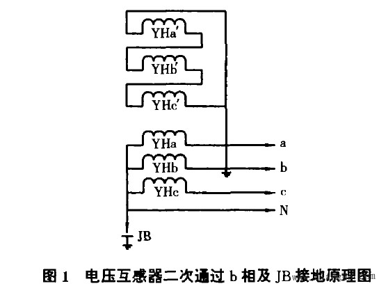 电压互感器二次通过b相及JB接地原理图