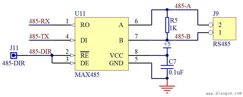 图18-1 MAX485硬件接口
