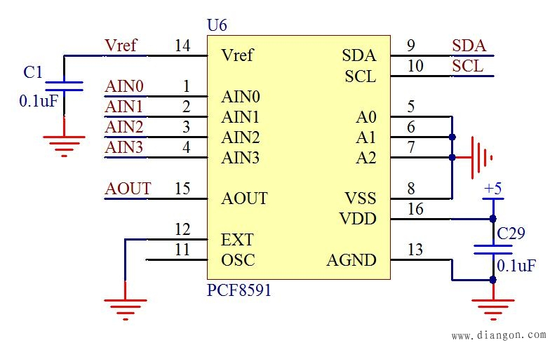 PCF8591原理图