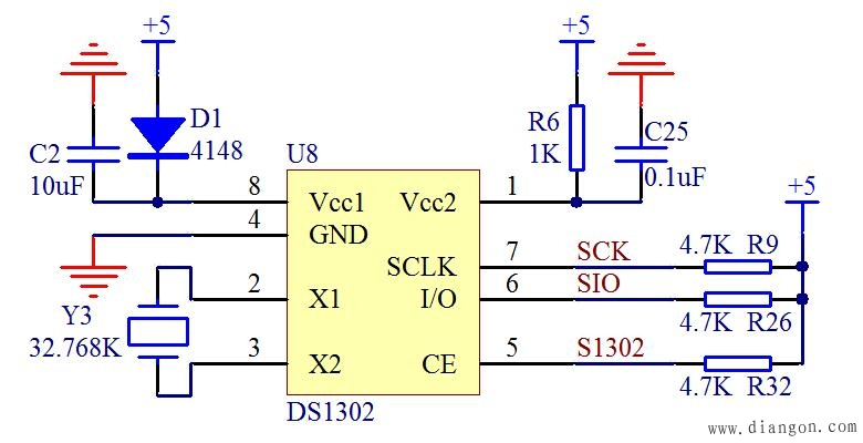 DS1302电容作备用电源