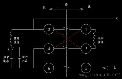 倒顺开关控制单相电动机正反转的电路图 - 白鹰 - 电气技术中心