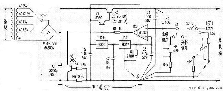 DIY大电流可调稳压电源电路