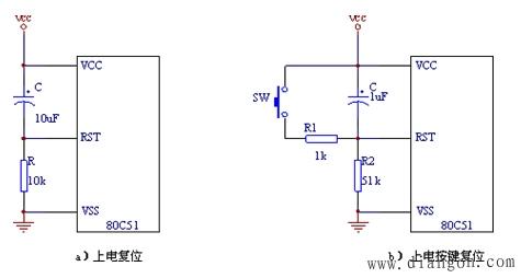 按键复位电路图_80C51单片机复位及复位电路 - 单片机_电工学习网