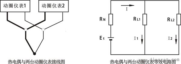 热电偶与两台动圈仪表等效电路图