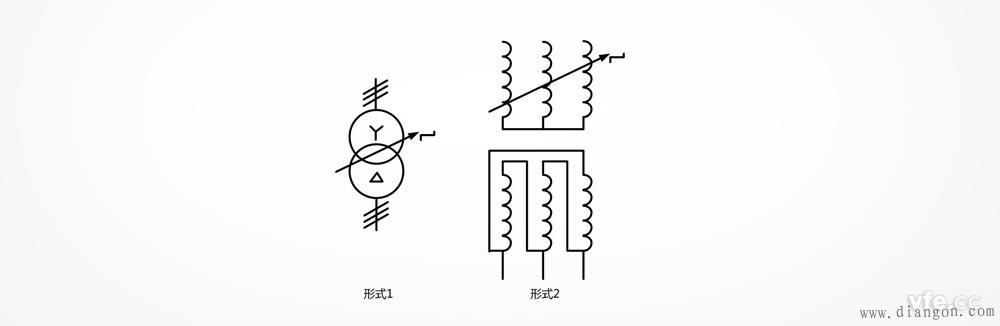 具有有载分接开关的星形三角形连接的三相变压器