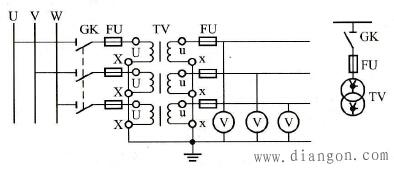 三只单相电压互感器在三相电路中的YNyn接线方式